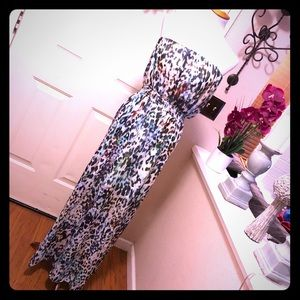 Topshop Pretty Leopard Print Sleeveless Maxi Dress